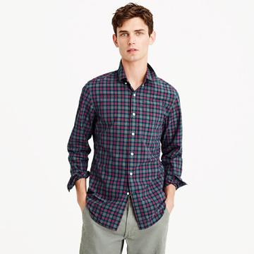J.Crew Secret Wash shirt in warm spruce plaid
