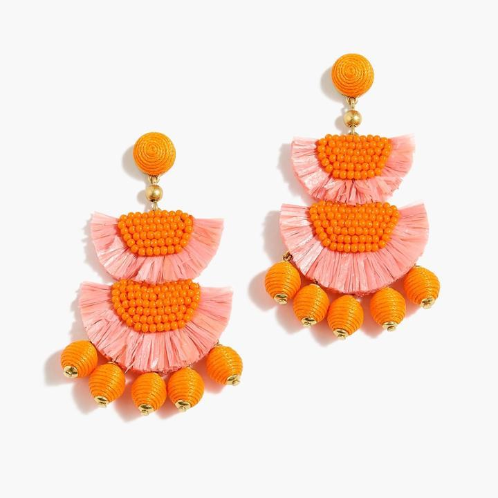 J.Crew Bead-and-raffia earrings