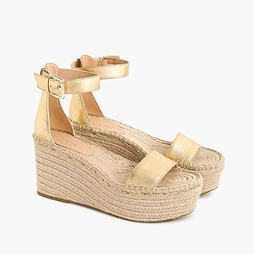 J.Crew Platform espadrille sandals in metallic leather
