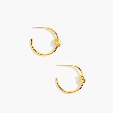 J.Crew Demi-fine 14k gold-plated knot hoops