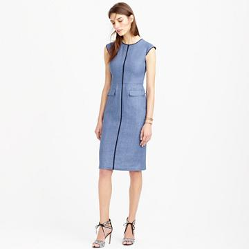 J.Crew Patch-pocket sheath dress in tipped linen