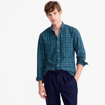 J.Crew Tall American Pima cotton oxford shirt in tartan