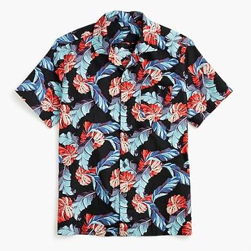 J.Crew Short-sleeve camp-collar cotton-linen shirt in tropical print
