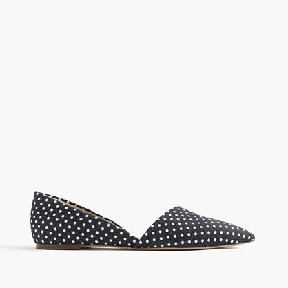 J.Crew Sloan d'Orsay flats in polka-dot denim