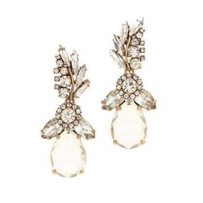J.Crew Crystal feather teardrop earrings