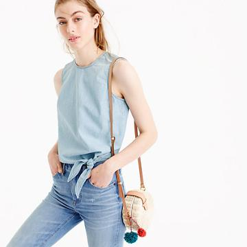 J.Crew Tall chambray tie-waist top