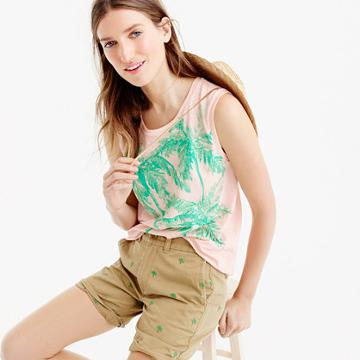 J.Crew Muscle tank top with sequin palm trees