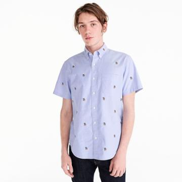 J.Crew Short-sleeve American Pima cotton peace sign oxford with mechanical stretch