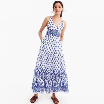 J.Crew V-neck maxi dress in block print
