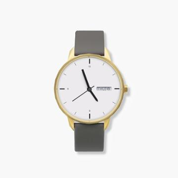 J.Crew Tinker 42mm gold-toned watch with grey strap