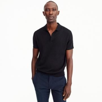 J.Crew Pima cotton short-sleeve Johnny-collar sweater polo in black