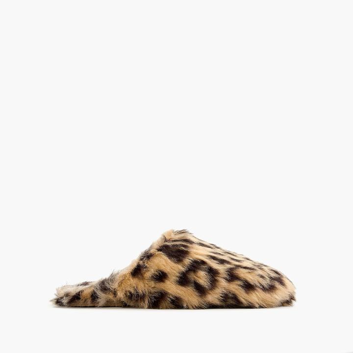 J.Crew Girls' faux-fur slippers in leopard print