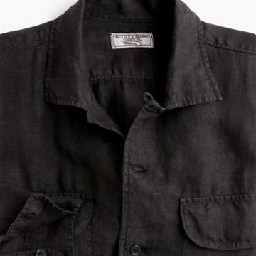 J.Crew Wallace & Barnes camp-collar shirt in black
