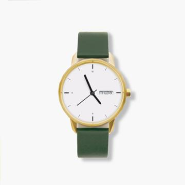 J.Crew Tinker 38mm gold-toned watch with green strap
