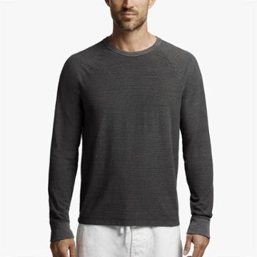 James Perse Micro Striped Jersey Raglan Tee