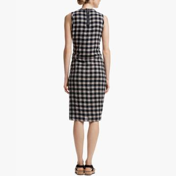 James Perse Spiral Shirred Plaid Dress