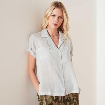 James Perse Cotton Voile Short Sleeve Shirt