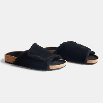 James Perse Suede Shearling Sandal