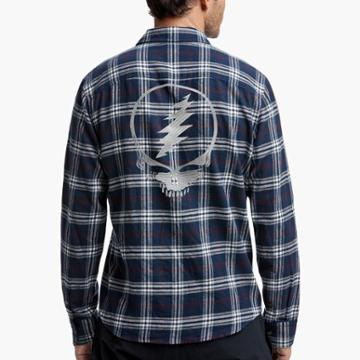 James Perse Grateful Dead Skull Embroidered Plaid Shirt