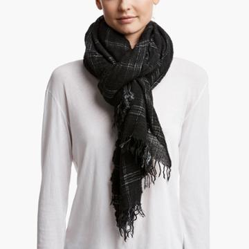 James Perse Faliero Sarti Wool Plaid Scarf