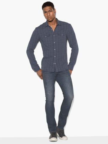 John Varvatos Plaid Double-pocket Shirt Lt Blue Size: S