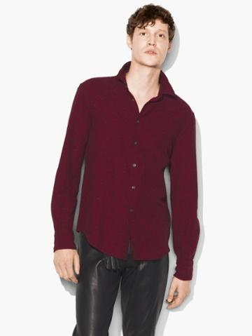 John Varvatos Micro-plaid Shirt Burgundy Size: S