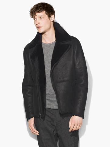 John Varvatos Shearling Biker Jacket Black Size: Xs