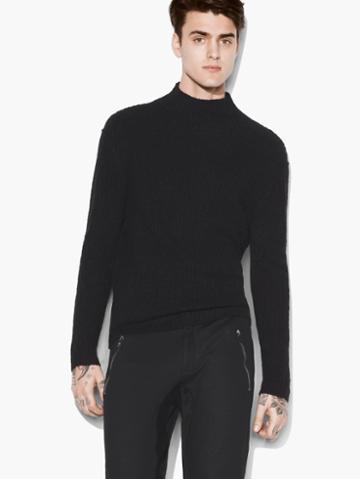 John Varvatos Mock Neck Cable Sweater Black Size: S