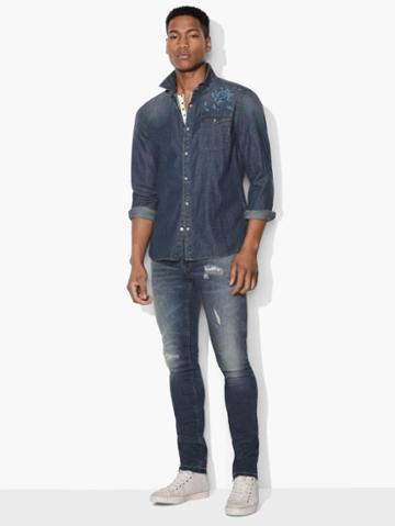 John Varvatos Desert Rose Denim Shirt Indigo Size: S