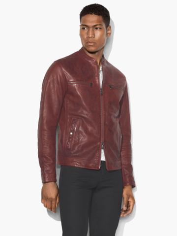 John Varvatos Modern Racer Leather Jacket Red Size: Xs