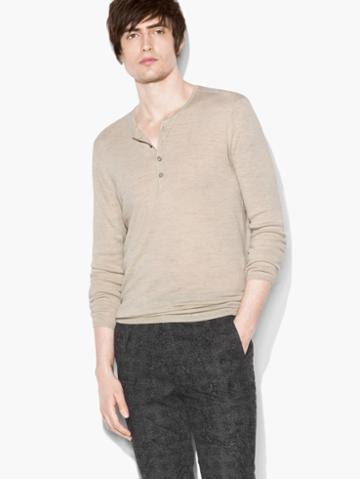 John Varvatos Texture Stitch Henley Oat Size: S