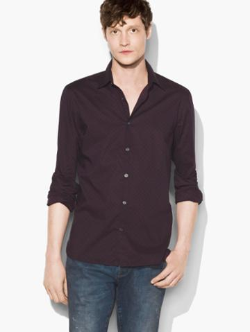 John Varvatos Micro-dot Shirt Red Clay Size: S