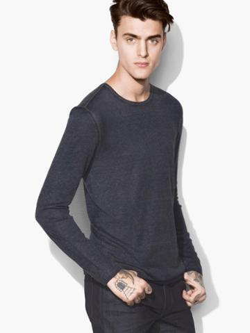 John Varvatos Artisan Crewneck Sweater Indigo Size: S