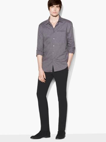 John Varvatos Roll-sleeve Shirt Log Brown Size: S