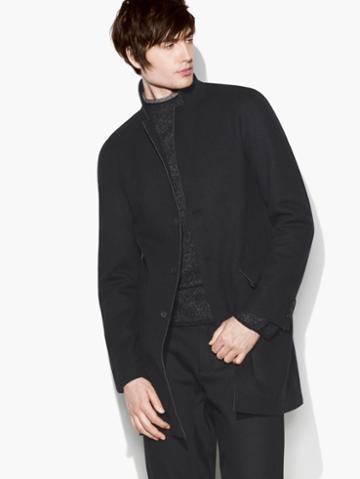 John Varvatos Raw-edge Coat Black Size: 44