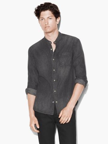 John Varvatos Band Collar Denim Shirt  Size: Xs