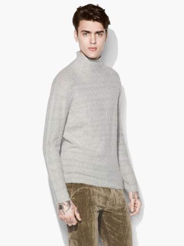 John Varvatos Mock Neck Cable Sweater Grey/tan Size: S
