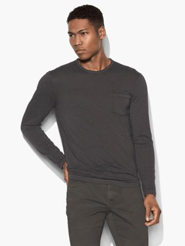 John Varvatos Long Sleeve Pocket Tee Blk Cord Size: M