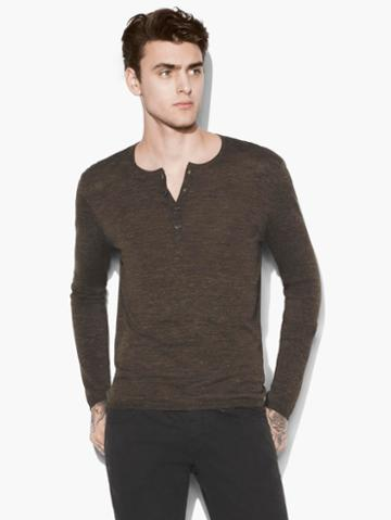 John Varvatos Texture Stitch Henley Loden Size: M