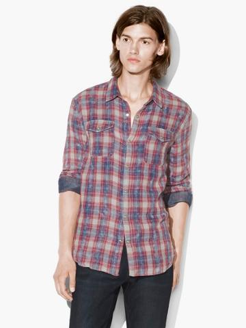 John Varvatos Snap Front Plaid Shirt