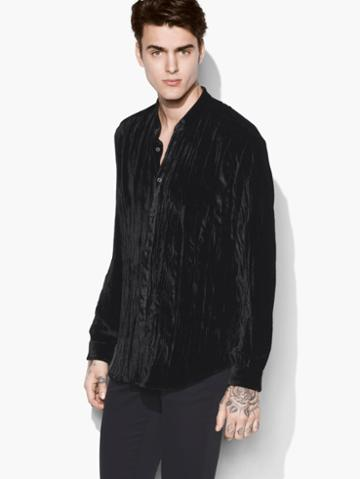 John Varvatos Crushed Velvet Shirt Black Size: M