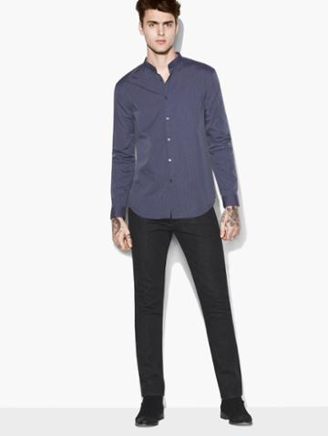 John Varvatos Stand Collar Shirt Black Grape/black Size: S
