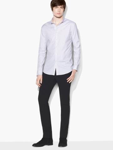 John Varvatos Micro Stripe Stand Collar Shirt Black/white Size: S