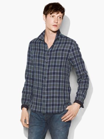 John Varvatos Reversible Plaid Shirt Indigo Size: S