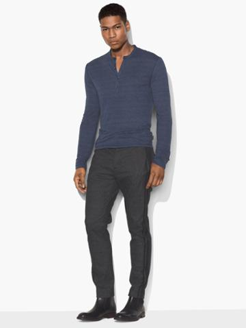 John Varvatos Straited Long Sleeve Henley Blue Size: S