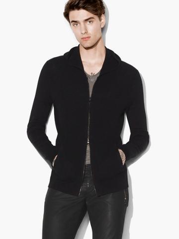 John Varvatos Silk-cashmere Zip Front Hoodie