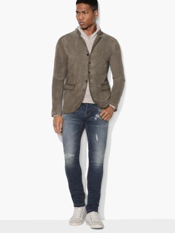 John Varvatos Suede Multi-button Jacket Rye Size: Xs