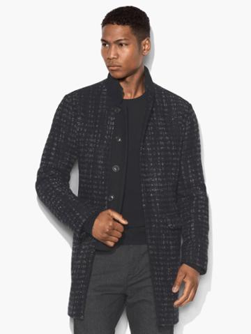 John Varvatos Stand Collar Top Coat Empire Blue Size: S
