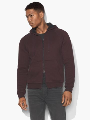 John Varvatos Sherpa Lined Hoodie Bordeaux Size: S