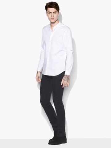John Varvatos Solid Band Collar Shirt White Size: Xs